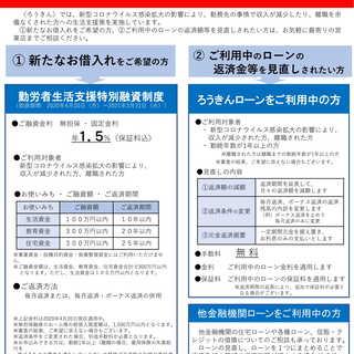 【北陸労働金庫】新型コロナウイルス感染拡大により影響を受けられた方への生活支援策について
